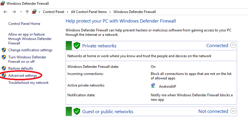 Advanced Settings in Windows Firewall