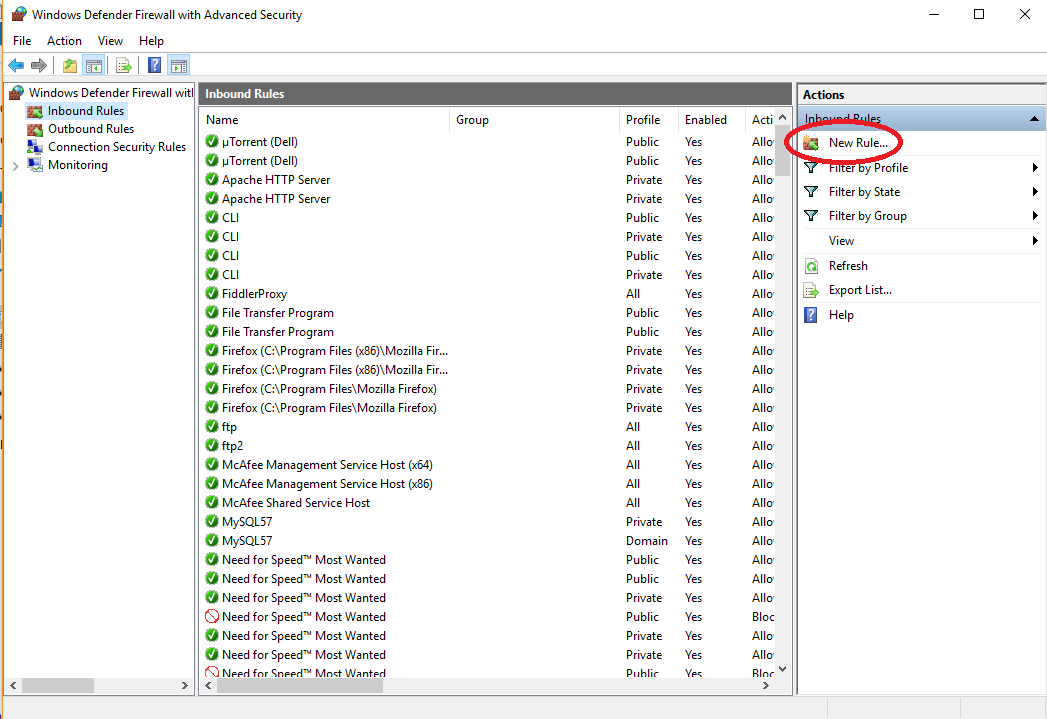 New Inbound Rule option in windows firewall settings