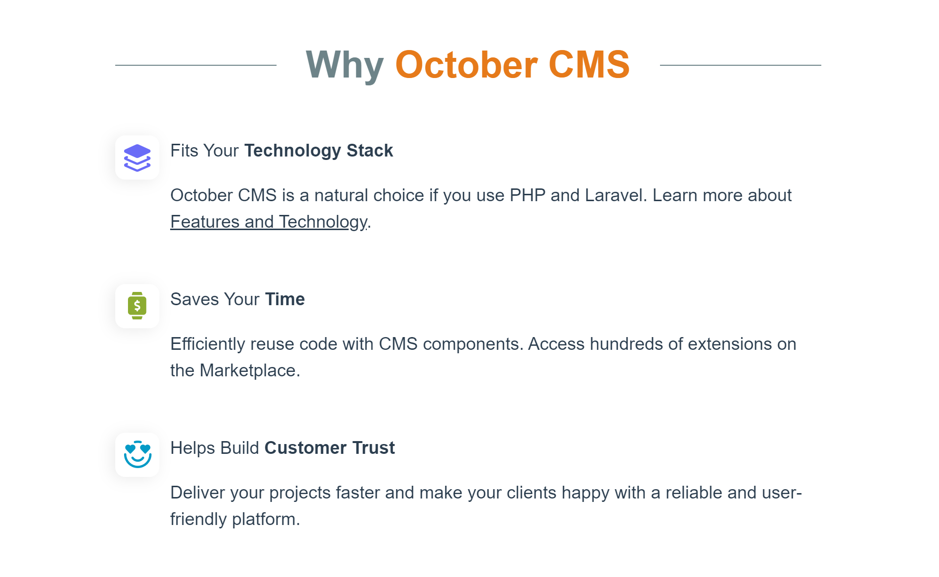 Reasons to choose October CMS